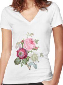 Rose Botanical Floral on Vintage Pink Women's Fitted V-Neck T-Shirt