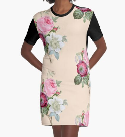 Rose Botanical Floral on Vintage Pink Graphic T-Shirt Dress