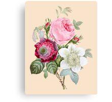 Rose Botanical Floral on Vintage Pink Canvas Print