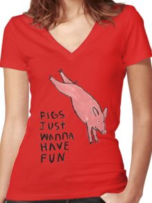 Pigs Just Wanna Have Fun #2 Women's Fitted V-Neck T-Shirt