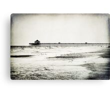 Folly Beach at Dusk in Black and White Canvas Print