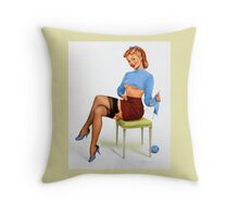 Pin-Up Girl 'A Revealing Yarn' by Fiona Stephenson Throw Pillow