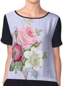Rose Botanical Floral on Powder Blue Chiffon Top