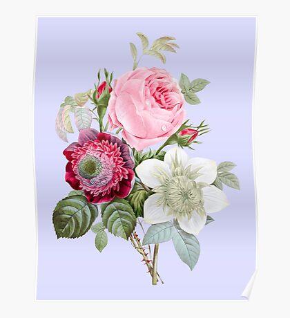 Rose Botanical Floral on Powder Blue Poster