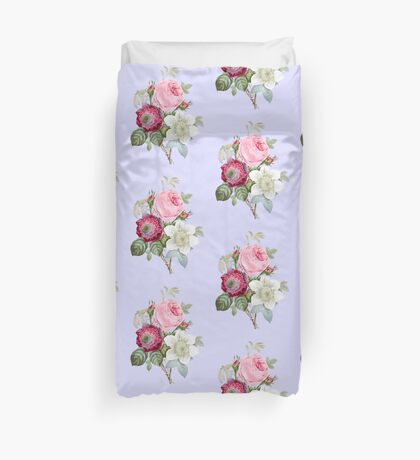 Rose Botanical Floral on Powder Blue Duvet Cover