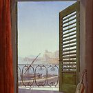 Balcony Room with a View of the Bay of Naples   by Carl Gustav Carus by Adam Asar