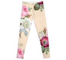 Rose Botanical Floral on Vintage Pink Leggings