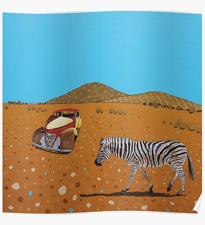 Landscape with Zebra Poster