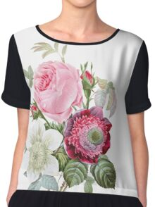 Rose Floral Botanical Chiffon Top