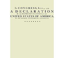 Declaration of Independence - black letters Photographic Print