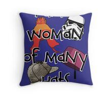 Woman of Many Hats Throw Pillow