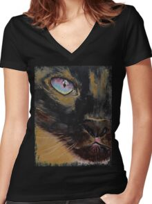 Siamese Women's Fitted V-Neck T-Shirt
