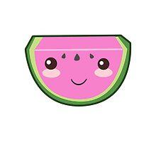 Kawaii Smiling Watermelon by PatiDesigns