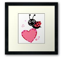 Happy cute Ladybug with Valentines heart Framed Print