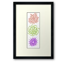 Three Fantasy Flowers - Wood Block Print Framed Print