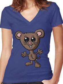 Cute Mouse Cartoon  Women's Fitted V-Neck T-Shirt