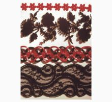 Red & Black Lace Trims Kids Tee