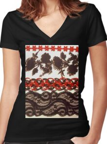 Red & Black Lace Trims Women's Fitted V-Neck T-Shirt