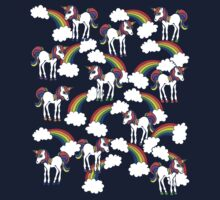 Rainbow Unicorns Pattern Kids Tee