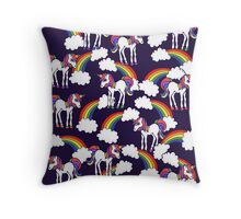Rainbow Unicorns Pattern Throw Pillow