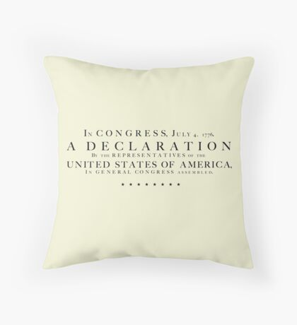Declaration of Independence - black letters Throw Pillow