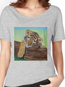 Sleepy Tiger Cub Women's Relaxed Fit T-Shirt