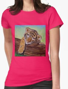 Sleepy Tiger Cub Womens Fitted T-Shirt