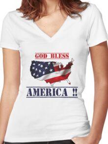 GOD BLESS AMERICA 4th JULY Women's Fitted V-Neck T-Shirt