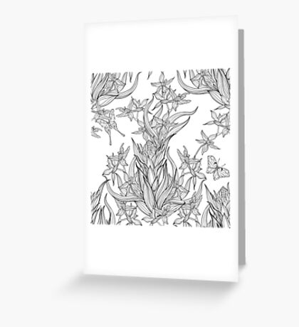 butterflies flying in orchid flowers Greeting Card