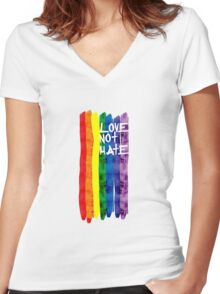 Love not Hate Women's Fitted V-Neck T-Shirt
