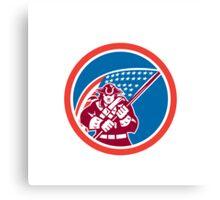 American Patriot Holding Flag Circle  Canvas Print