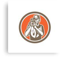 Cameraman Holding Movie Video Camera Circle Canvas Print