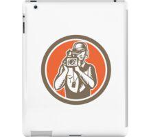 Cameraman Holding Movie Video Camera Circle iPad Case/Skin
