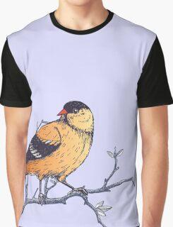 Yellow Botanical Bird On Powder Blue Graphic T-Shirt