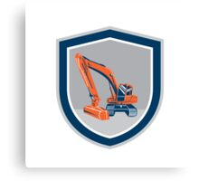 Mechanical Digger Excavator Retro Shield Canvas Print