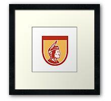 Native American Indian Chief Shield Retro Framed Print