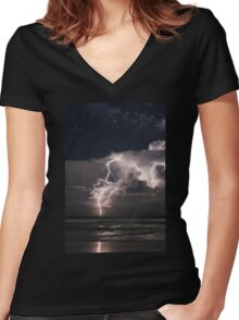 Lightning at Night Women's Fitted V-Neck T-Shirt