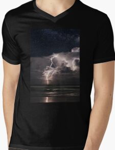 Lightning at Night Mens V-Neck T-Shirt