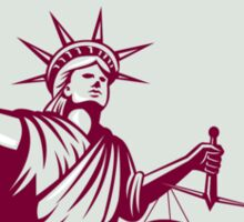 Statue of Liberty Holding Sword Scales Justice Shield Sticker