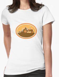 Farmer Driving Vintage Farm Tractor Oval Retro T-Shirt