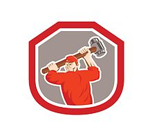 Union Worker Striking Smashhammer Shield Retro by patrimonio