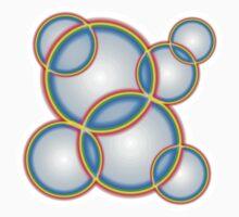Rainbow Circles on White One Piece - Short Sleeve