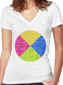 #DeepDream Color Circle Visual Areas 6x6K v1448932478 Women's Fitted V-Neck T-Shirt