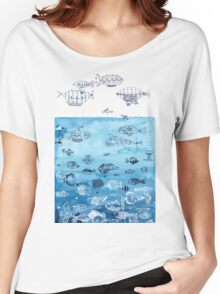 Steampunk Ships and Ocean Fishes Women's Relaxed Fit T-Shirt