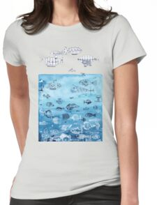Steampunk Ships and Ocean Fishes Womens Fitted T-Shirt