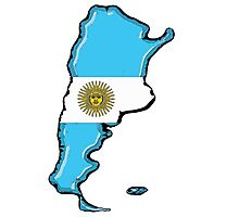 Argentina Map with Argentinian Flag Photographic Print