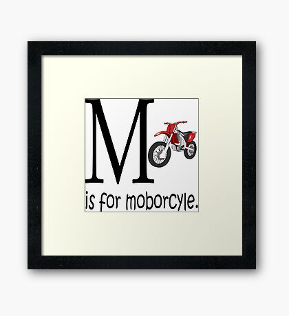 Funny Alphabet: M is for Motorcycle Framed Print
