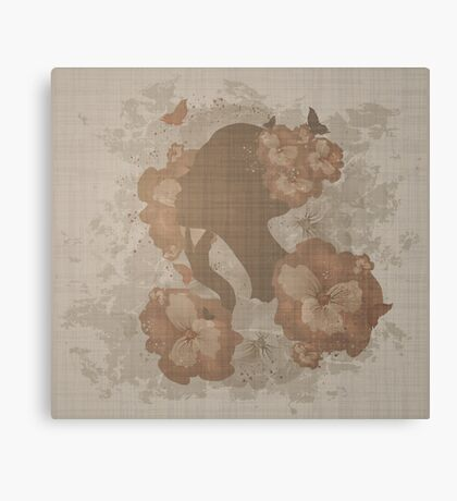 Grunge Floral Woman Canvas Print