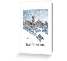 Baltimore City Skyline Neighborhood Map Greeting Card