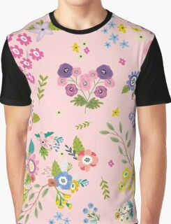 Garden Floral On Pastel Pink Graphic T-Shirt
